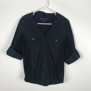NYDJ Medium Button Down V Neck Pocket T Shirt